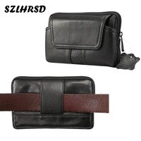 SZLHRSD New Fashion Men Genuine Leather Waist Bag Cell Mobile Phone Case For HomTom S7 IMAN