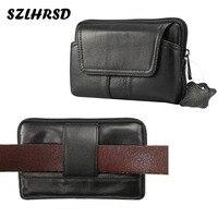 SZLHRSD New Fashion Men Genuine Leather Waist Bag Cell Mobile Phone Case For HomTom S7 IMAN