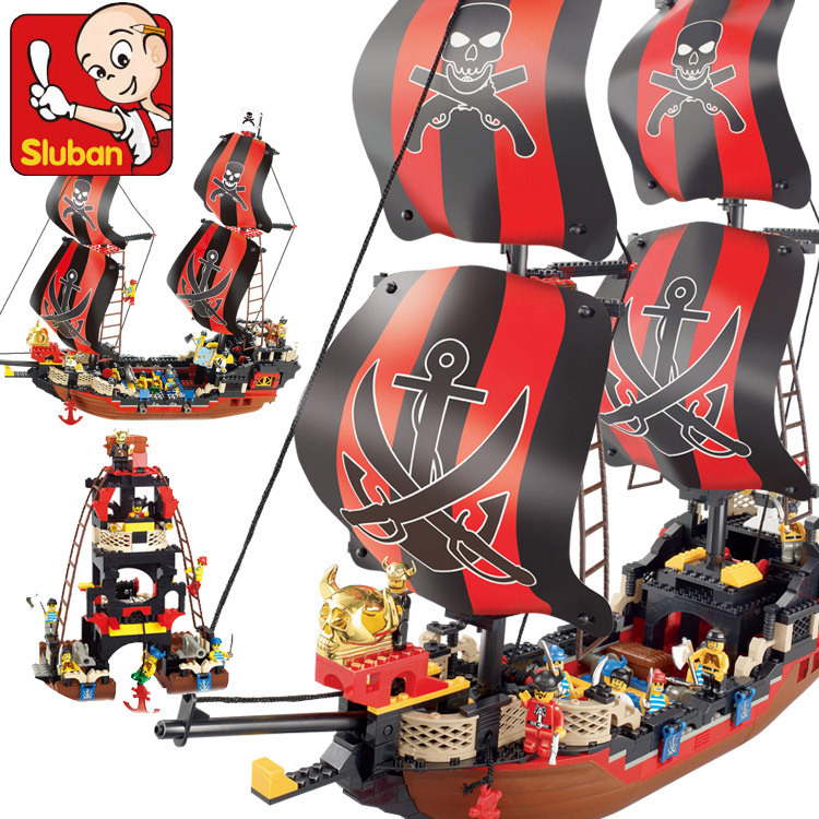 Sluban model building kits compatible with lego city pirate 780 3D blocks Educational model & building toys hobbies for children sluban model building kits compatible with lego city fire 739 3d blocks educational model