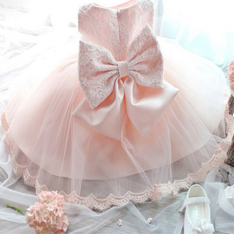 2018 Newborn Pink Dress For Toddler Girl Sleeveless Baby Girl Lace with big bow Gown Dress 1 years birthday Party Infant Wear
