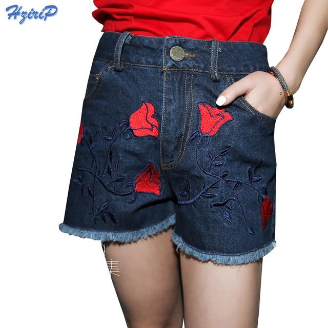 2017 Nuevos Pantalones Cortos de Verano Floral Bordado de Cintura Alta  Recta Pantalones Cortos de Mezclilla cd0679ae0138
