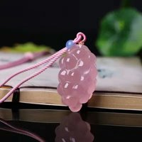 Madagascar Natural Rose Quartz Stone Carve Grapes Pendants Handmade Pink Crystal Pendant Necklace Energy Guardian Of