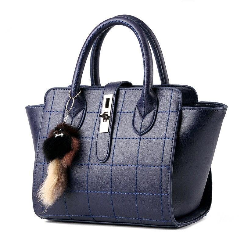 Fashion Thread Cusual Dark Blue PU Women Handbag Elegant Office Lady Shoulder Bag Toggle Zipper napapijri guji check dark blue