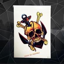 Anchor Skull Skeleton Design Waterproof Henna Tattoo Sticker 21x15CM Big Size Bone Tattoo Paste Tatouage Taty Body Arm Men Chest