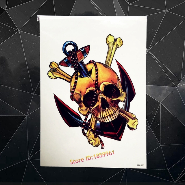 Anchor Skull Skeleton Design Waterproof Henna Tattoo Sticker 21x15CM Big Size Bone Tattoo Paste Tatouage Taty Body Arm Men Chest