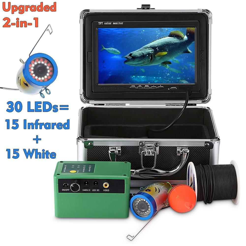 7,0 дюймов 15 м 1000TVL подводный рыболокатор рыболовная камера 15 шт белые светодиоды+ 15 шт инфракрасная лампа рыболокатор IP68 водонепроницаемый
