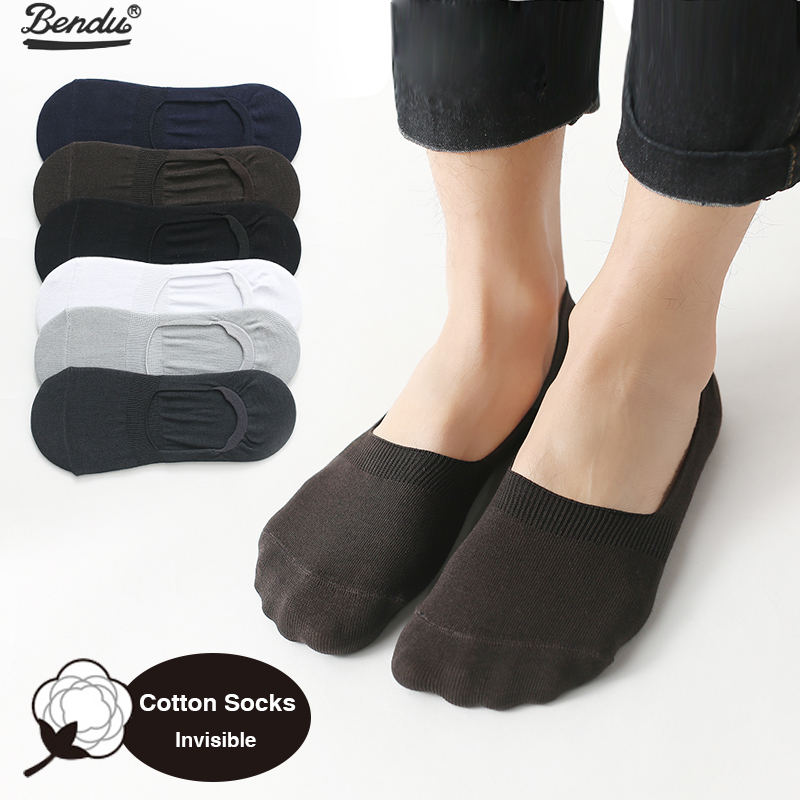 BENDU 6 Pairs/Lot Men No Show Thin Socks Spring Summer Bamboo Cotton Short Sock Brief Invisible Slippers Male Shallow Mouth Sock