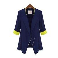 DoreenBow Yeni Yüksek Kalite Kadın Moda Şifon Blazer Sonbahar Bahar Fermuar Çentikli Lacivert Beyaz Blazers Ceketler, 1 Parça
