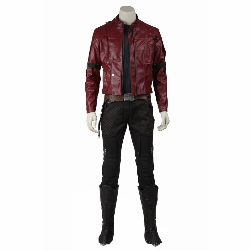 in Stock Star Lord Cosplay Jacket Guardians of The Galaxy Peter Quill Costume Halloween Adult Men Leather Coat Outfit Suit