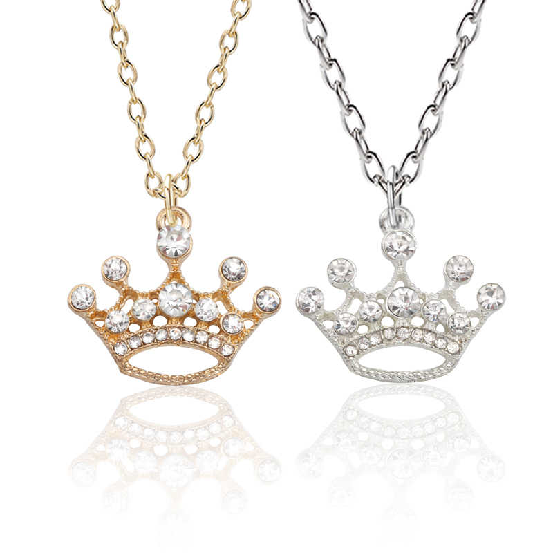 Luxury Crystal Crown Pendant Necklace Tiny Gold Silver Princess Crown Necklace For Women Girls Lovers Valentine's Day Gifts