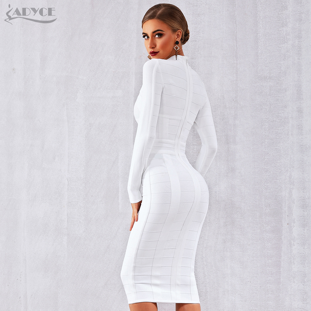 White Long Sleeve Hollow Out Club Dress