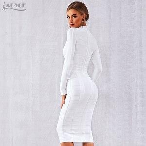 Image 5 - Adyce 2020 novo outono mulheres branco bodycon bandage vestido de manga longa sexy oco para fora clube celebridade festa à noite vestido