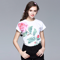 Fowice 2017 New Arrival Fashion Cute Short Sleeve Flower Print T Shirt O Neck High Quality
