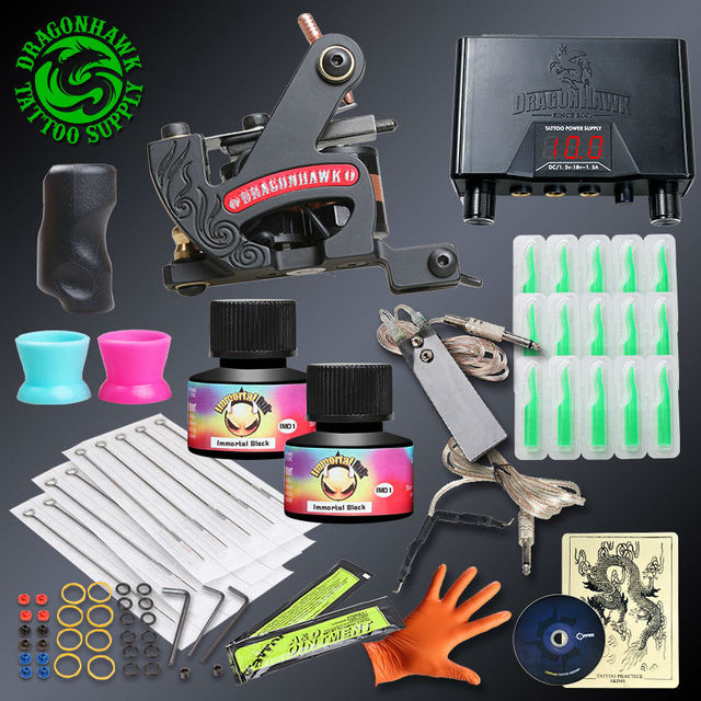 Professional Tattoo kits Fine Lining Tattoo Machine Power Supply Immortal Ink Sets Disposable Needle Grip Tips