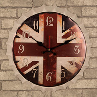 Retro beer cover wall clock 35 CM creative mute table metal painting iron card beer cap tinplate arts living room bar cafe decor