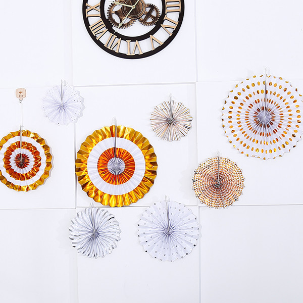 Zilue 8pcs set Gold Silver Paper Fans Flowers for Birthday Party Baby Showers Supplies Wedding Home Decoration DIY Origami