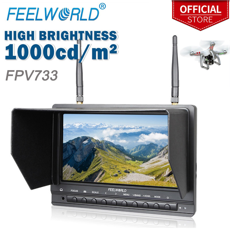 Feelworld FPV733 7 800x480 Resolution 1000 Nits Brightness FPV Monitor with Dual 5.8G 32CH Diversity Receiver Drone UAV Monitor feelworld fpv1032 10 1 wireless 5 8g 32ch drone rc rf receiver fpv monitor hdmi