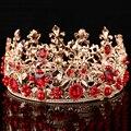 Ouro barroco acessórios de cabelo noiva cabelo de cristal frisado grande coroa Tiaras de casamento de noiva rainha completa