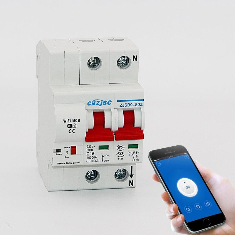 2 P WiFi умный выключатель автоматический переключатель перегрузки короткого замыкания с Amazon Alexa Google home для умного дома