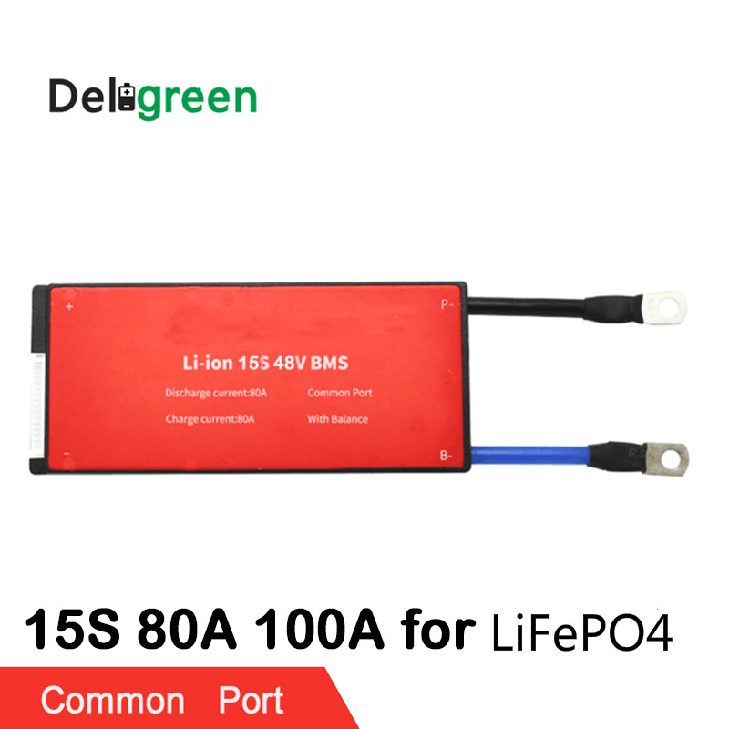 Deligreen 15S 80A 100A 48V PCM/PCB/BMS for LiFePO4 battery pack 18650 Lithium Battery Pack protection board lto battery bms 5s 12v 80a 100a 200a lithium titanate battery circuit protection board bms pcm for lto battery pack same port