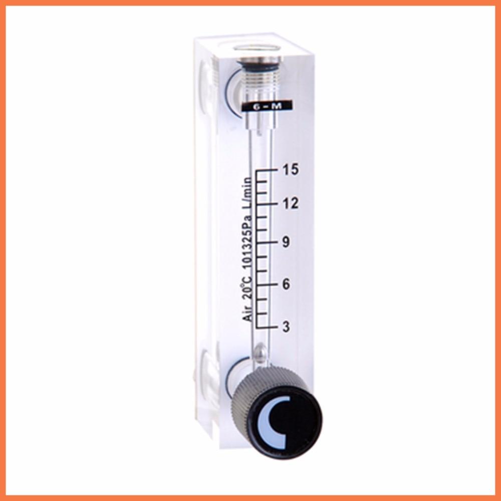 LZT-6T 3-15 LPM  Square Panel Type Gas Flowmeter Air Flow Meter rotameter LZT6T Tools Flow Measuring