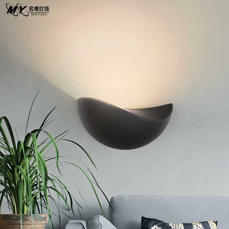 Nordic wall lamp bedroom bedside lamp simple modern aisle living room TV background wall semicircle lamp single headNordic wall lamp bedroom bedside lamp simple modern aisle living room TV background wall semicircle lamp single head
