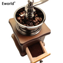 Eworld Classical Vintage Wooden Mini Coffee Grinder Manual Stainless Steel Retro Coffee Spice Nuts Mill With Porcelain Movement