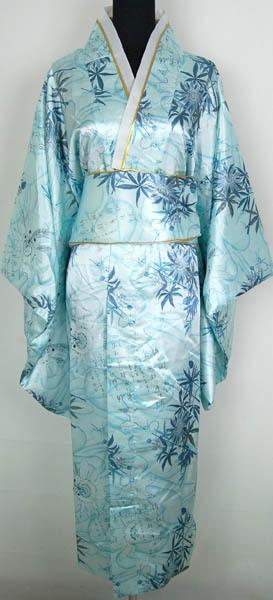 Açık mavi Japon kadın İpek Saten Kimono Yukata Abiye Haori Kimono Obi Bambu yaprakları Ile Bir Boyut H0014