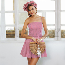 CUERLY Backless strap plaid mini dress women High waist summer beach Robe vestidos de festa short female 2019