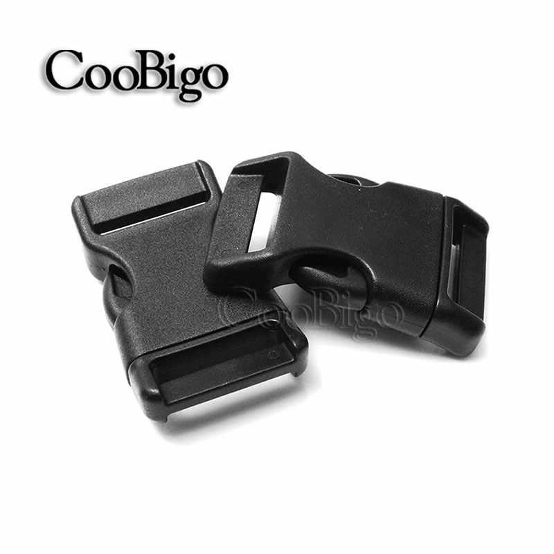 "1 stks Gebogen Zijsluiting Black 3/4 ""(20mm) plastic Voorgevormd Paracord Armband Halsband Survival Rugzakken Accessoires"