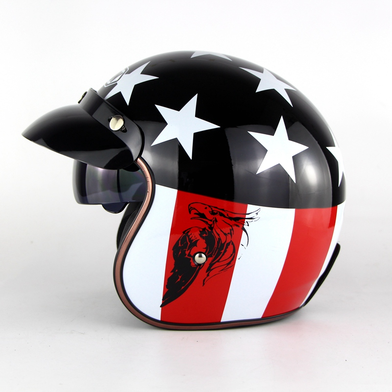 DOT Vintage Motorcycle Helmet With Sun Visor Retro Street Casco Safety Helmets Open face Fit Bubble Visor Unisex S-XL