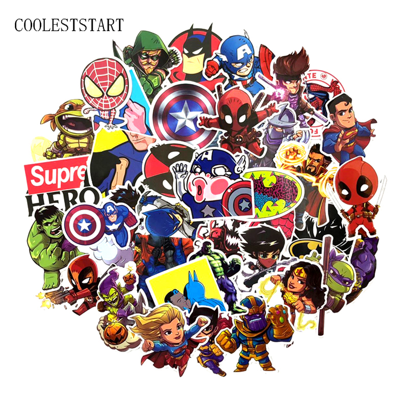 100 Pcs Super Hero Stickers for Laptop Skateboard Luggage Car Styling Motorcycle Home Decor Cool Funny