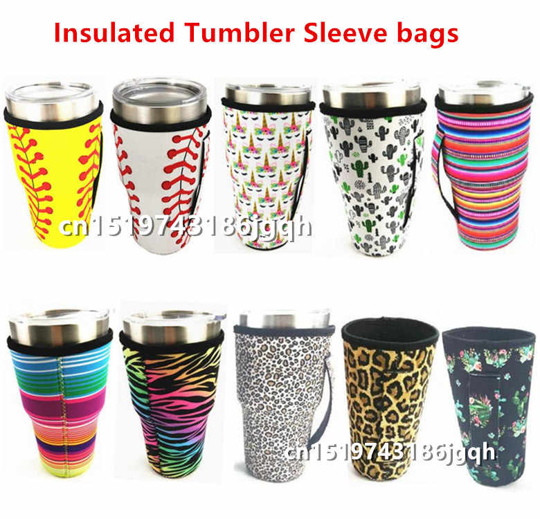 10pcs Leopard Rainbow Cactus 30oz Tumbler Carrier Pouch Neoprene Insulated Tumbler Sleeve bag Cover Pouch for 30oz Tumbler Cup
