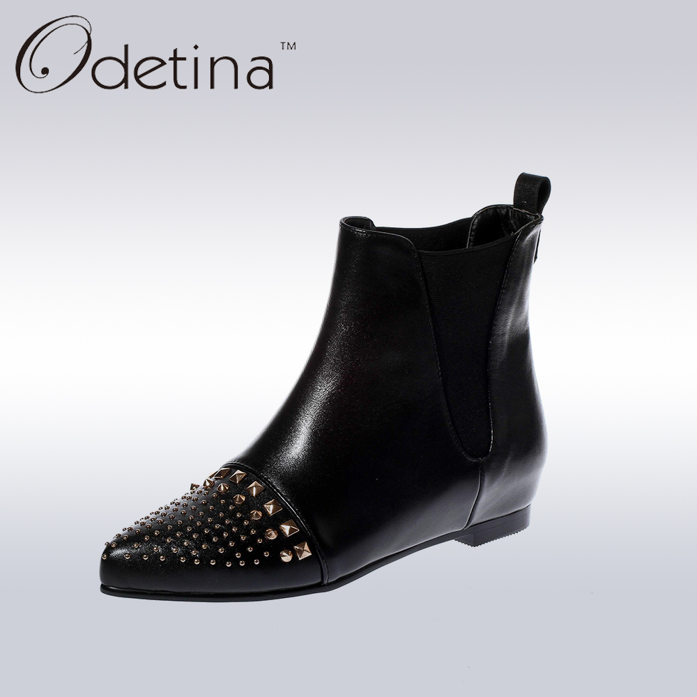 Odetina Black Genuine Leather Women Pointed Toe Chelsea Boots Rivets Punk Ankle Boots for Women Low Hidden Heel Quality Booties odetina fashion women pointed toe rivets loafers 2017 spring