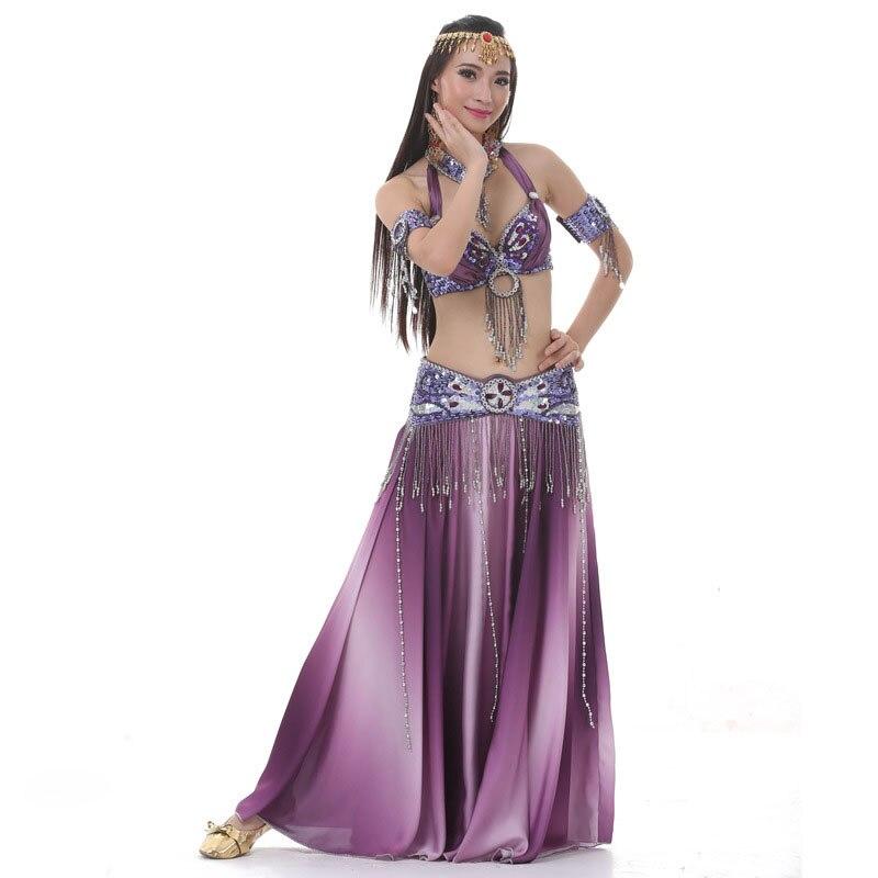 Nouveau Costume de danse du ventre Sexy ensemble longue danse de la Bellydance jupe de sirène Costume de danse ensemble Costumes de danse indienne Bollywood robe 3 pièces/ensemble