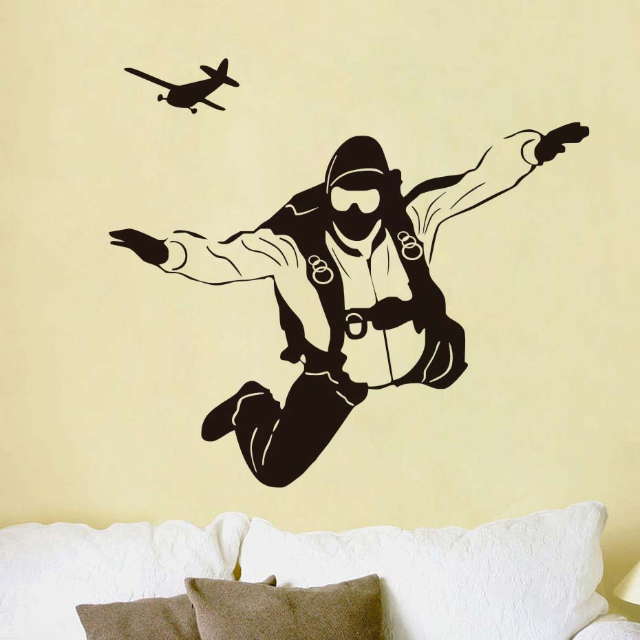 DCTOP Extreme Sports Skydiving Pilot Plane Wall Decals DIY Home ...