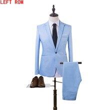 Nuevo traje de hombre de moda traje de novio color puro vestido de novia  cuello blanco vestido de trabajo chaqueta + pantalones . 19f1d8a45f62