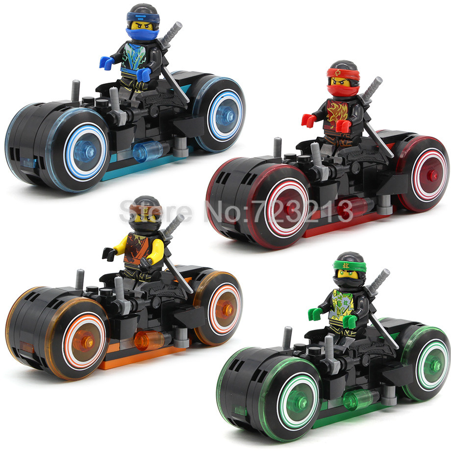 4pcs/set Ninjagoed Series Figure Thomas Cycling Motorcycle Kai Jay Cole Zane Building Blocks set Model Toys for Children Gift