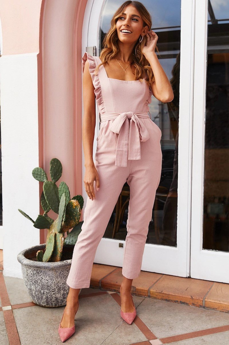 Hot Sale 2019 Fashion Women Ruffles Sexy Bodysuit Solid High Waist Casual Jumpsuits Backless Belt Bodycon Playsuit in Jumpsuits from Women 39 s Clothing