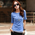 Large size women new summer bamboo cotton half-open collar sleeve women's casual T-shirt was thin do269