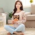 New Cute Cartoon Owl Pajama Sets For Women Long Sleeve Pijama Pajamas Pyjama femme Sleepwear Girls Nightwear Womens Clothing PJ8