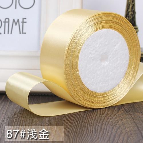 25 ярдов/рулон 6 мм, 10 мм, 15 мм, 20 мм, 25 мм, 40 мм, 50 мм, шелковые атласные ленты для рукоделия, швейная лента ручной работы, материалы для рукоделия, подарочная упаковка - Цвет: Pale gold