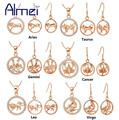 Almei Rose Gold Plated Crystal Jewelry Set for Women Fashion 12 Constellations Necklaces & Earrings Sets 925 Silver Joyas T394