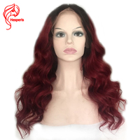 Hesperis Brazilian Human Hair Ombre Burgundy Full Lace Wigs Pre Plucked Baby Hair 150 Density Ombre