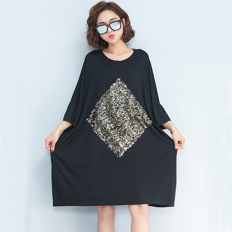 1e6b1f0f95f Oladivi Brand Plus Size Women Clothes Casual Loose Sequins Summer Dresses  Ladies Cotton Dress Long Tunic 2018 Vestidos Femininos-in Dresses from  Women s ...