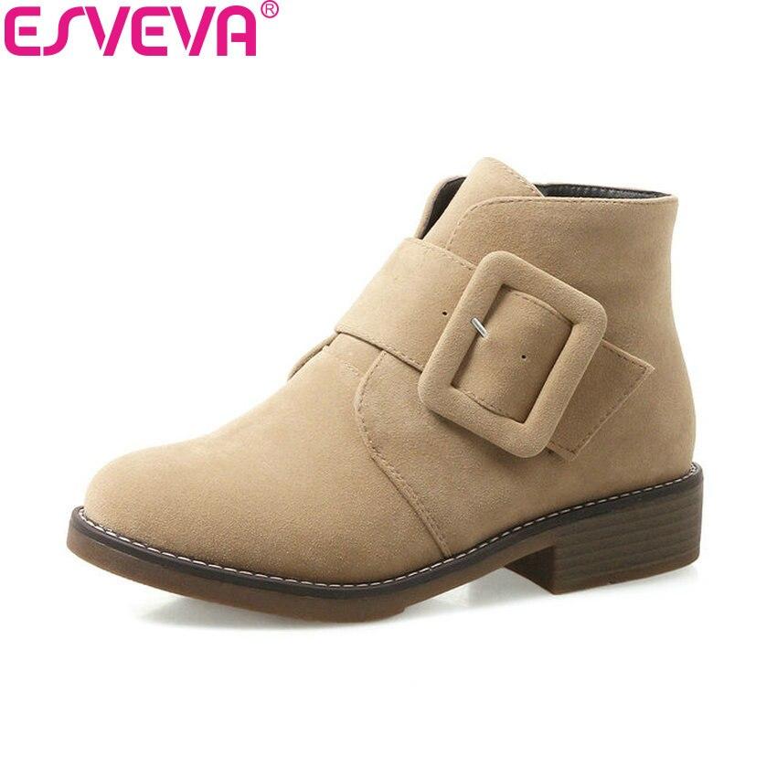 ESVEVA 2018 Square Heels Women Boots Scrub PU Ankle Boots Buckle Med Heels Khaki Round Toe Black Western Ladies Boots Size 34-43