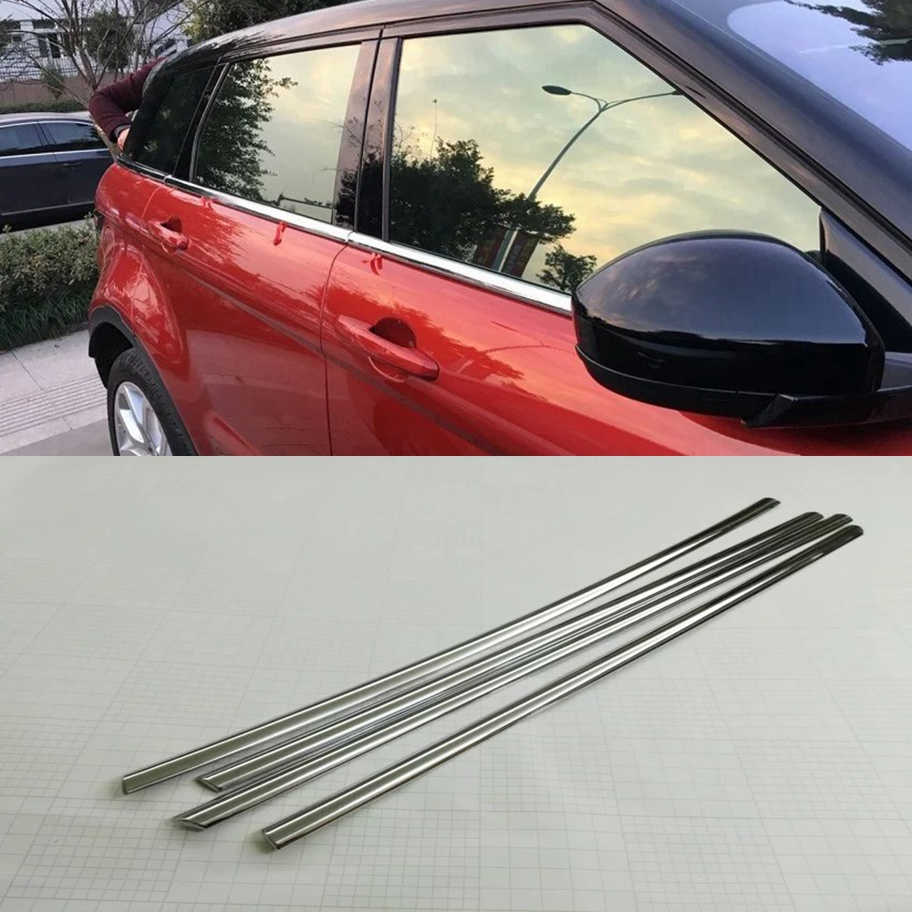 MONTFORD Stainless Steel Side Door Body Trim Molding Protector Frames Trim For Land Rover Range Rover Evoque 2011-2015 Auto Part 8pcs accessories fit for range rover sport 2014 2015 2016 body window door trim exterior chromium styling stainless steel 304