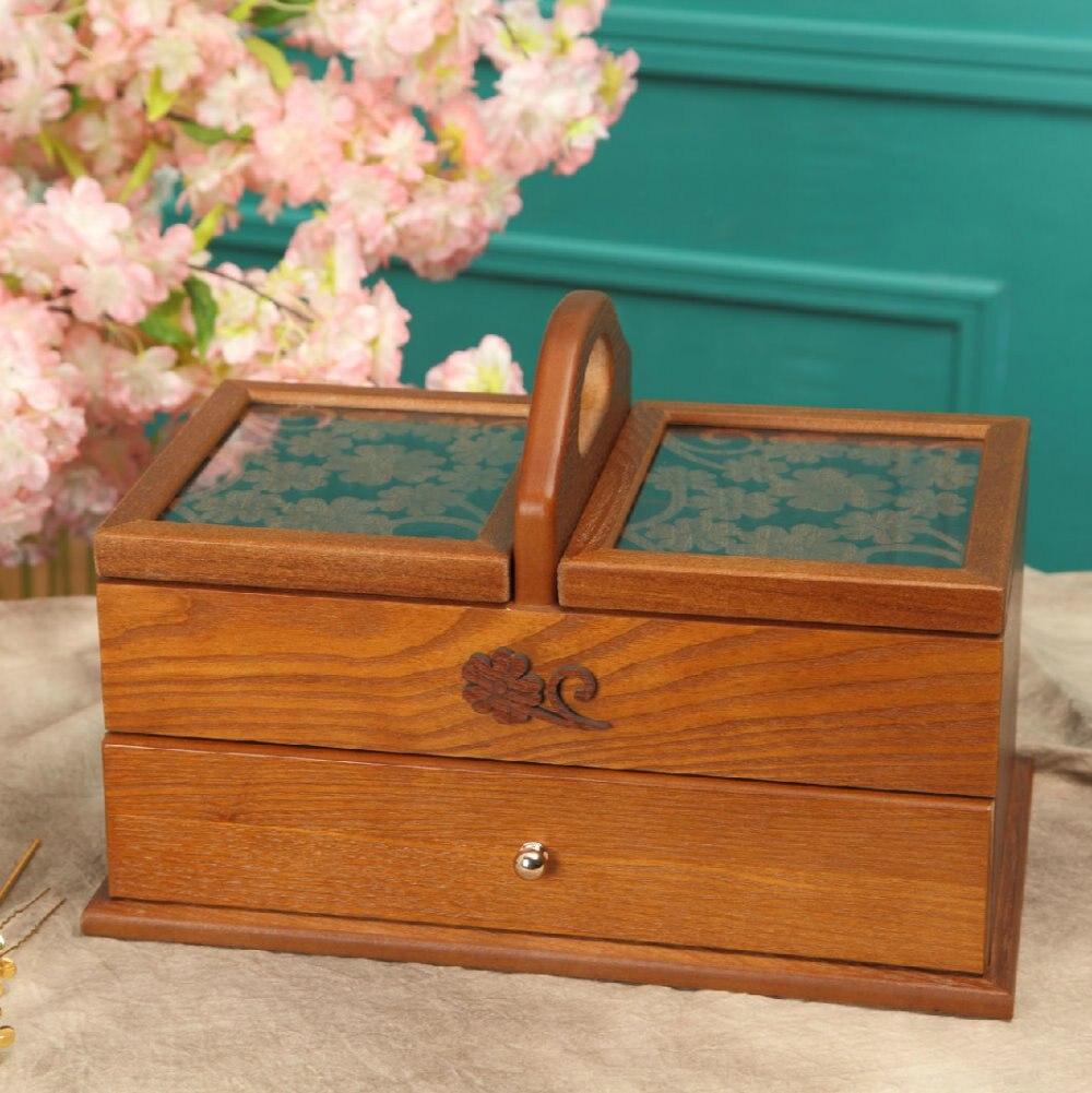 Boîte de rangement en bois boîte à bijoux Vintage bijoux coffre à trésor boîte en bois manuelle boîte de rangement de bureau kit de couture offres spéciales