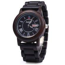 2016 New Fashion Seasonal Date Day Display Male Quartz Watch Maple Band Men Wristwatch for Christmas