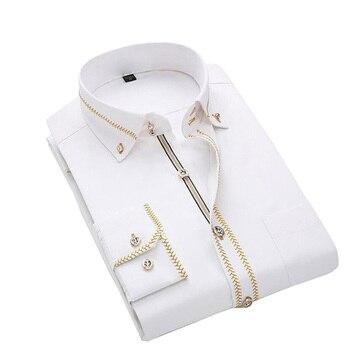 Jeetoo 2018 Men's Solid Slim Casual Wedding Shirt Business Long Sleeve Men Dress Blouses Work Wear Formal Male Tuxedo Plus Size